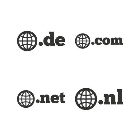 nl: Top-level internet domain icons. De, Com, Net and Nl symbols with globe. Unique national DNS names. Flat icons on white. Vector Illustration