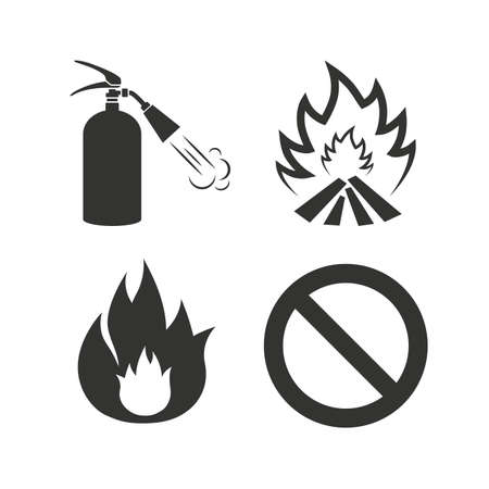 fire extinguisher symbol: Fire flame icons. Fire extinguisher sign. Prohibition stop symbol. Flat icons on white. Vector Illustration