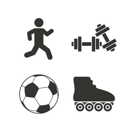 rollerblades: Football ball, Roller skates, Running icons. Fitness sport symbols. Gym workout equipment. Flat icons on white. Vector Illustration