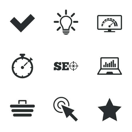 bandwidth: Internet, seo icons. Bandwidth speed, online shopping and tick signs. Favorite star, notebook chart symbols. Flat icons on white. Vector