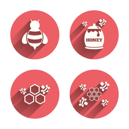 fructose: Honey icon. Honeycomb cells with bees symbol. Sweet natural food signs. Pink circles flat buttons with shadow. Vector