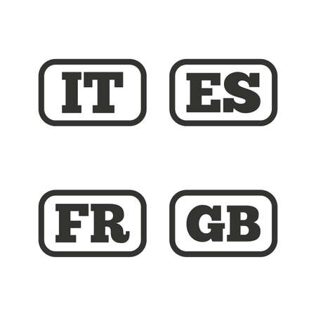 gb: Language icons. IT, ES, FR and GB translation symbols. Italy, Spain, France and England languages. Flat icons on white. Vector