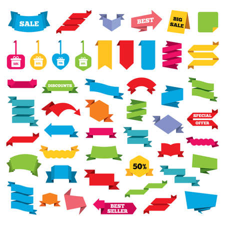 50 to 60: Web stickers, banners and labels. Sale gift box tag icons. Discount special offer symbols. 50%, 60%, 70% and 80% percent discount signs. Price tags set. Vector