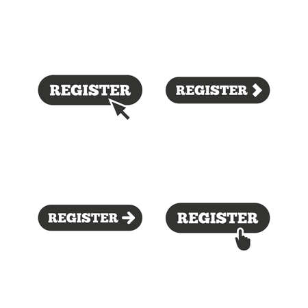 black button: Register with hand pointer icon. Mouse cursor symbol. Membership sign. Flat icons on white. Vector