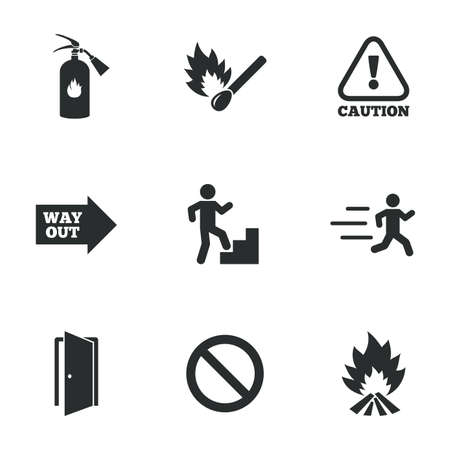 caution: Fire safety, emergency icons. Fire extinguisher, exit and attention signs. Caution, water drop and way out symbols. Flat icons on white. Vector