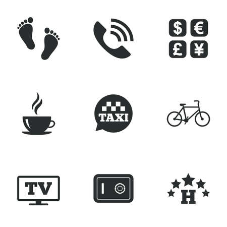 strongbox: Hotel, apartment services icons. Coffee sign. Phone call, kid-friendly and safe strongbox symbols. Flat icons on white. Vector