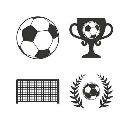 arquero futbol: iconos del fútbol. Fútbol signo deporte de pelota. Portero símbolo de puerta. Ganador de la copa premio y corona de laurel. iconos planos en blanco. Vector