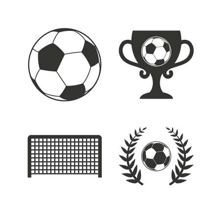 Football icons. Soccer ball sport sign. Goalkeeper gate symbol. Winner award cup and laurel wreath. Flat icons on white. Vector Illustration