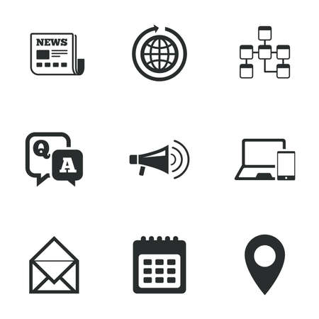 telephone icon: Communication icons. News, chat messages and calendar signs. E-mail, question and answer symbols. Flat icons on white. Vector