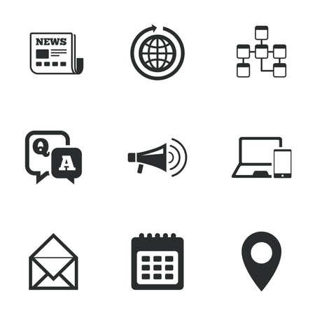 control de calidad: Iconos de la comunicación. Noticias, mensajes de chat y los signos del calendario. E-mail, de preguntas y respuestas símbolos. iconos planos en blanco. Vector Vectores