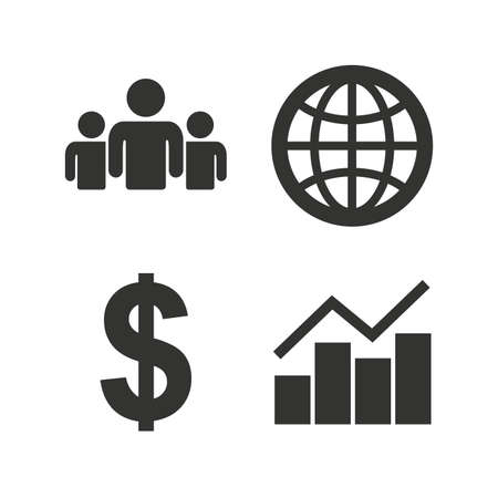 business globe: Business icons. Graph chart and globe signs. Dollar currency and group of people symbols. Flat icons on white. Vector