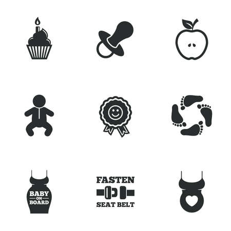 newborn footprint: Pregnancy, maternity and baby care icons. Apple, award and pacifier signs. Footprint, birthday cake and newborn symbols. Flat icons on white. Vector