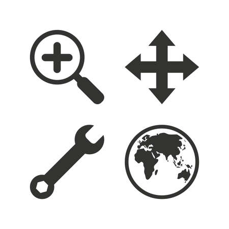 fullscreen: Magnifier glass and globe search icons. Fullscreen arrows and wrench key repair sign symbols. Flat icons on white. Vector