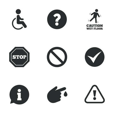 bubble acid: Attention caution icons. Question mark and information signs. Injury and disabled person symbols. Flat icons on white. Vector