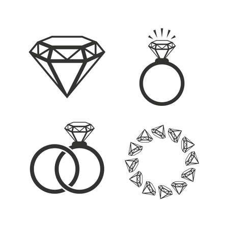 diamond rings: Rings icons. Jewelry with shine diamond signs. Wedding or engagement symbols. Flat icons on white. Vector Illustration