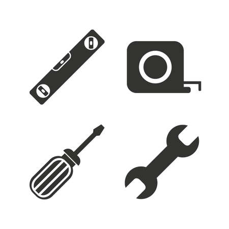 spirit level: Screwdriver and wrench key tool icons. Bubble level and tape measure roulette sign symbols. Flat icons on white. Vector