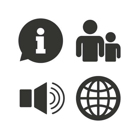 Information sign. Group of people and speaker volume symbols. Internet globe sign. Communication icons. Flat icons on white. Vector