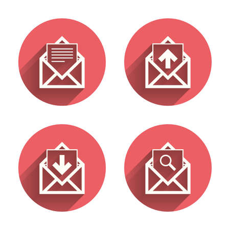 page long: Mail envelope icons. Find message document symbol. Post office letter signs. Inbox and outbox message icons. Pink circles flat buttons with shadow. Vector
