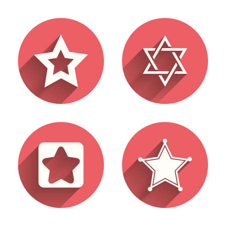 Star of David icons. Sheriff police sign. Symbol of Israel. Pink circles flat buttons with shadow. Vector