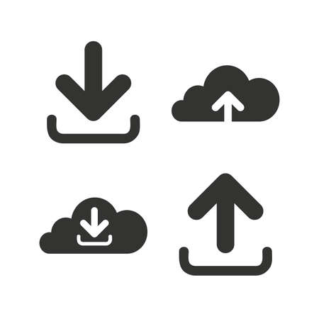 receive: Download now icon. Upload from cloud symbols. Receive data from a remote storage signs. Flat icons on white. Vector Illustration