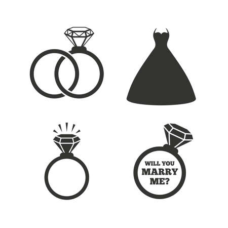 rings: Wedding dress icon. Bride and groom rings symbol. Wedding or engagement day ring shine with diamond sign. Will you marry me? Flat icons on white. Vector