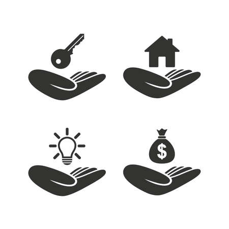 patent key: Helping hands icons. Financial money savings insurance symbol. Home house or real estate and lamp, key signs. Flat icons on white. Vector