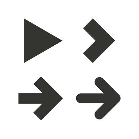 Arrow icons. Next navigation arrowhead signs. Direction symbols. Flat icons on white. Vector Çizim