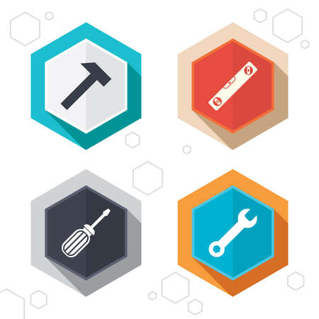 bubble level: Hexagon buttons. Screwdriver and wrench key tool icons. Bubble level and hammer sign symbols. Labels with shadow. Vector