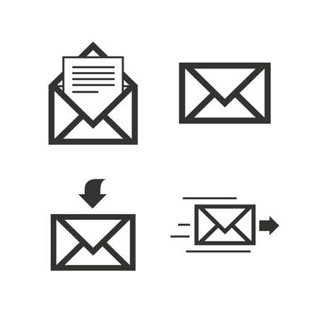 outgoing: Mail envelope icons. Message document delivery symbol. Post office letter signs. Inbox and outbox message icons. Flat icons on white. Vector Illustration