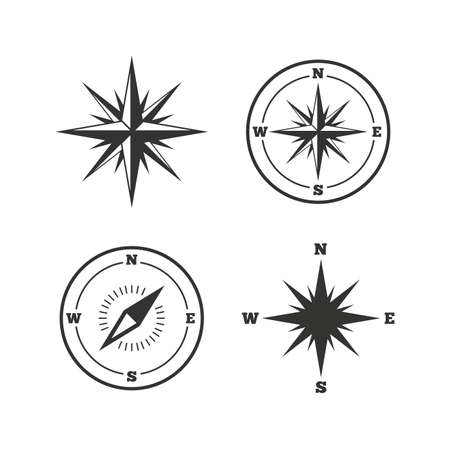 navigation icons: Windrose navigation icons. Compass symbols. Coordinate system sign. Flat icons on white. Vector