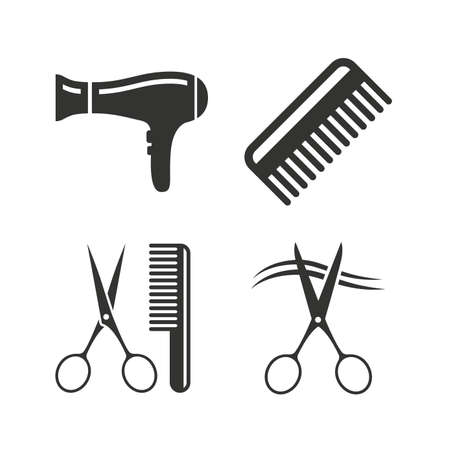 scissors icon: Hairdresser icons. Scissors cut hair symbol. Comb hair with hairdryer sign. Flat icons on white. Vector