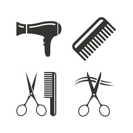 tijeras: Iconos peluquería. Las tijeras cortaron símbolo cabello. Peine el pelo con el signo de secador de pelo. Iconos planos en blanco. Vector