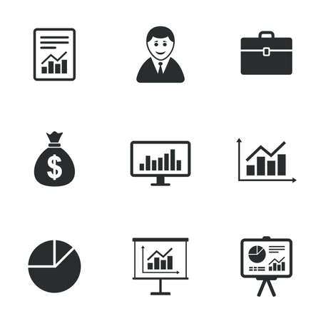 business case: Statistics, accounting icons. Charts, presentation and pie chart signs. Analysis, report and business case symbols. Flat icons on white. Vector