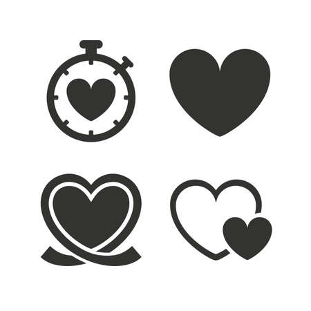 Heart ribbon icon. Timer stopwatch symbol. Love and Heartbeat palpitation signs. Flat icons on white. Vector