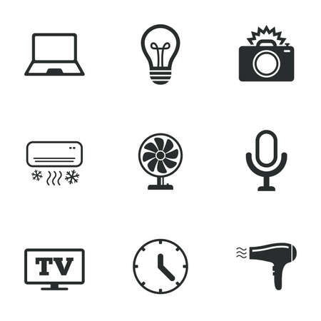 ventilator: Home appliances, device icons. Air conditioning sign. Photo camera, computer and ventilator symbols. Flat icons on white. Vector Illustration