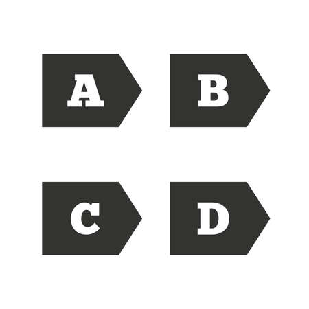 d mark: Energy efficiency class icons. Energy consumption sign symbols. Class A, B, C and D. Flat icons on white. Vector