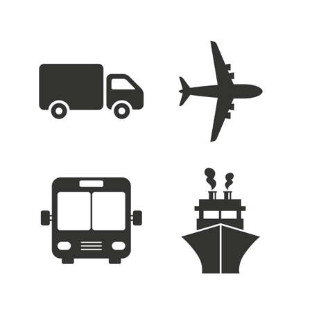 Transport icons. Truck, Airplane, Public bus and Ship signs. Shipping delivery symbol. Air mail delivery sign. Flat icons on white. Vector Illustration