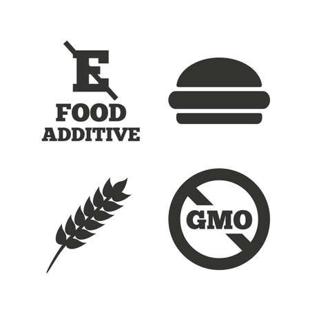 stabilizers: Food additive icon. Hamburger fast food sign. Gluten free and No GMO symbols. Without E acid stabilizers. Flat icons on white. Vector