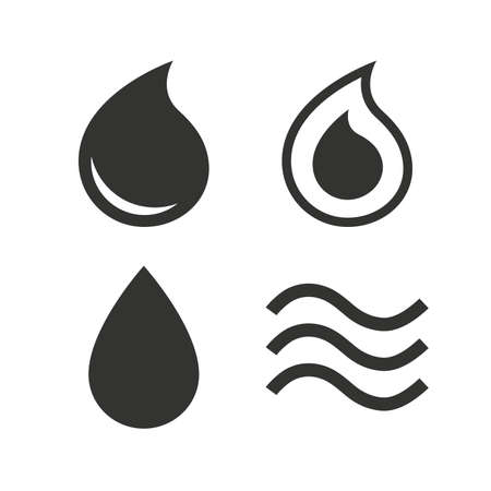 tear drop: Water drop icons. Tear or Oil drop symbols. Flat icons on white. Vector Illustration