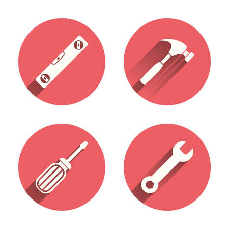 bubble level: Screwdriver and wrench key tool icons. Bubble level and hammer sign symbols. Pink circles flat buttons with shadow. Vector