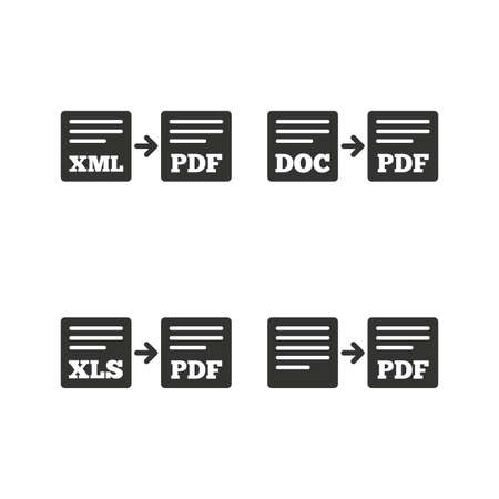 xls: Export file icons. Convert DOC to PDF, XML to PDF symbols. XLS to PDF with arrow sign. Flat icons on white. Vector