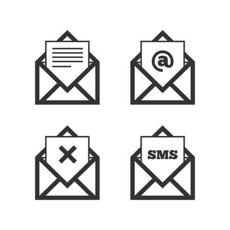 封筒アイコンをメールします。メッセージのドキュメントのシンボル。郵便局の文字。メールや SMS メッセージを削除します。白地フラット アイコ