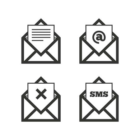 Mail envelope icons. Message document symbols. Post office letter signs. Delete mail and SMS message. Flat icons on white. Vector