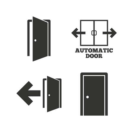 emergency exit: Automatic door icon. Emergency exit with arrow symbols. Fire exit signs. Flat icons on white. Vector