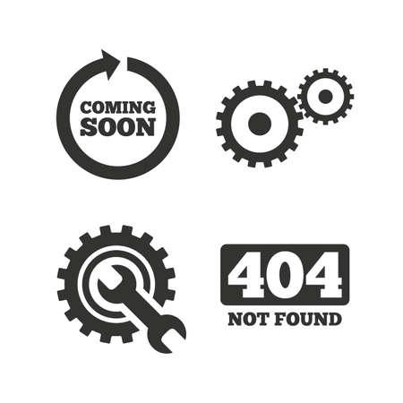 출시 예정은 화살표 아이콘을 돌립니다. 수리 서비스 도구 및 기어 기호입니다. 렌치 기호입니다. 404 찾을 수 없음. 화이트 플랫 아이콘. 벡터