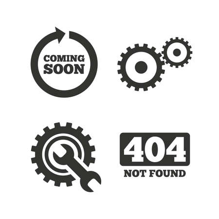 icons: Coming soon rotate arrow icon. Repair service tool and gear symbols. Wrench sign. 404 Not found. Flat icons on white. Vector