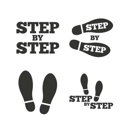 instru��o: Step by step icons. Footprint shoes symbols. Instruction guide concept. Flat icons on white. Vector