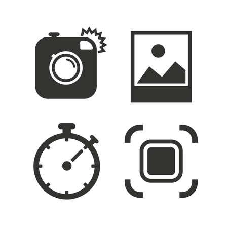 auto focus: Hipster retro photo camera icon. Autofocus zone symbol. Stopwatch timer sign. Landscape photo frame. Flat icons on white. Vector