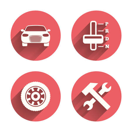 automatic transmission: Transport icons. Car tachometer and automatic transmission symbols. Repair service tool with wheel sign. Pink circles flat buttons with shadow. Vector
