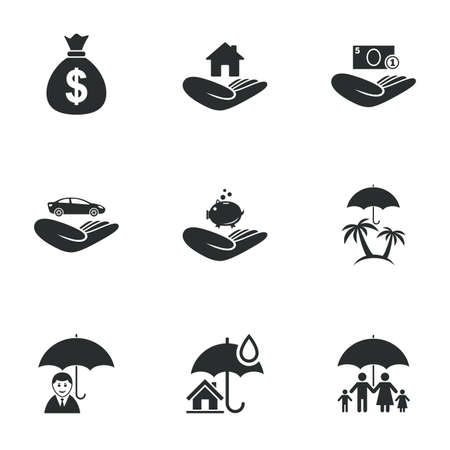 family house: Insurance icons. Life, Real estate and House signs. Money bag, family and travel symbols. Flat icons on white. Vector